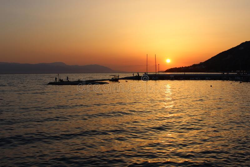 Sunset in Greece royalty free stock photography