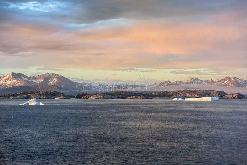 Sunset Greenland. Sunset in the south of Greenland near Kap Farvel royalty free stock image