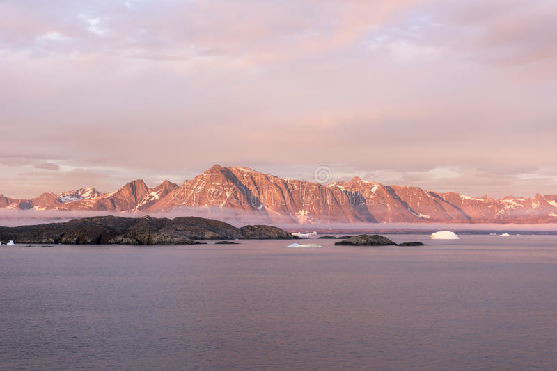 Sunset Greenland. Sunset in the south of Greenland near Kap Farvel royalty free stock photo