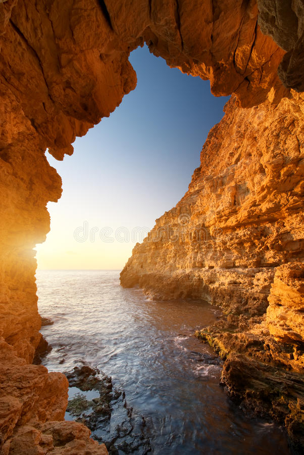 Sunset Into Grotto Stock Photos