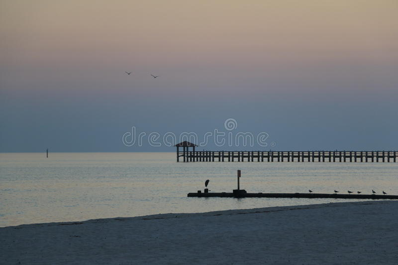 Sunset in Gulfport, MS stock images