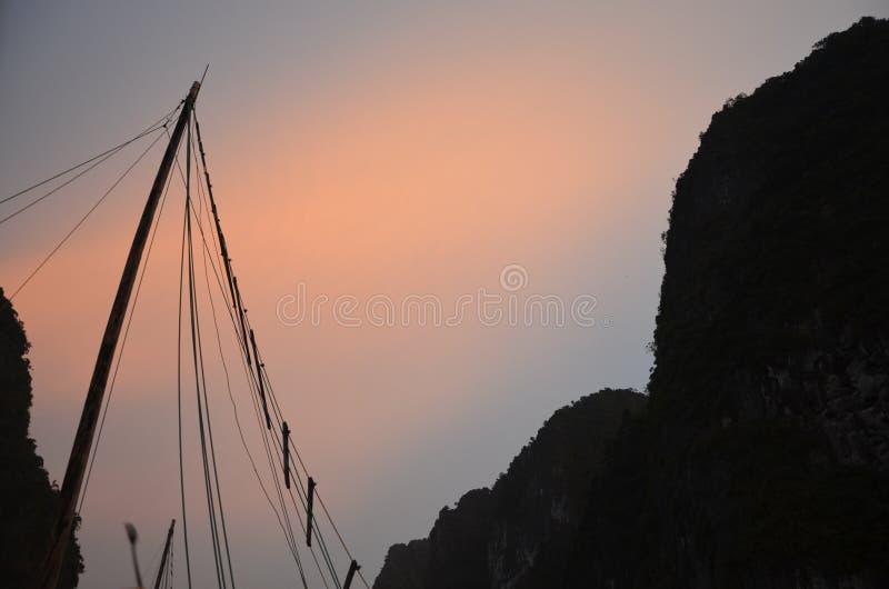 Sunset Ha Long Bay royalty free stock images