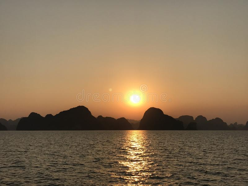 Download Sunset Of Halong Bay Vietnam Stock Photo - Image: 83700551