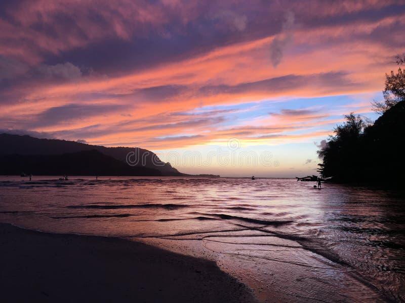 Sunset in Hanalei Bay in Summer on Kauai Island in Hawaii. stock image