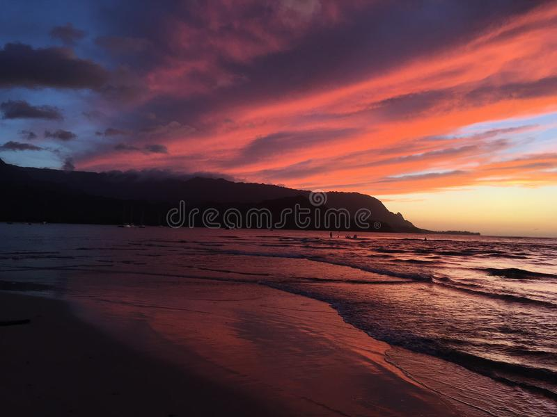 Sunset in Hanalei Bay in Summer on Kauai Island in Hawaii. royalty free stock photo