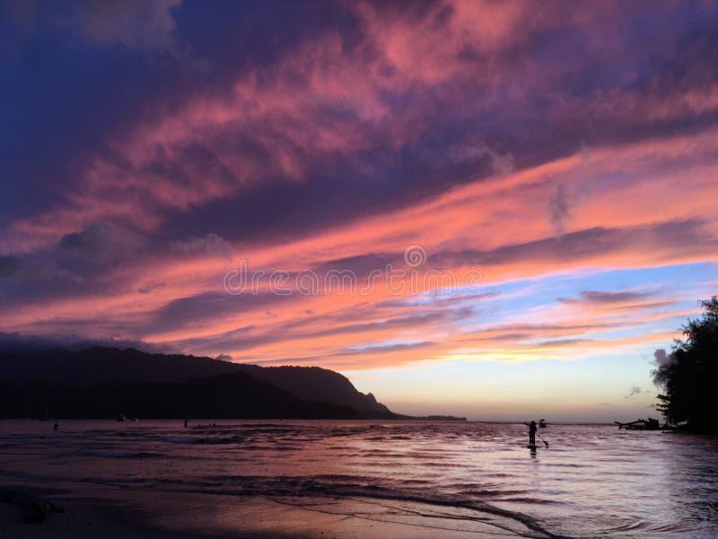 Sunset in Hanalei Bay in Summer on Kauai Island in Hawaii. royalty free stock photography