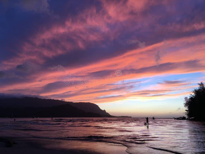Sunset in Hanalei Bay in Summer on Kauai Island in Hawaii. stock images