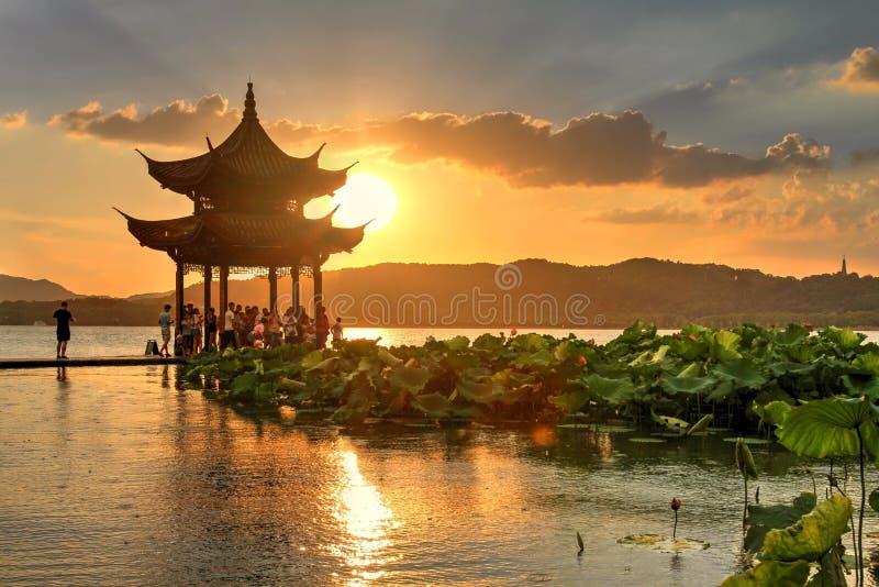 Sunset on West Lake in Hangzhou, China royalty free stock photos