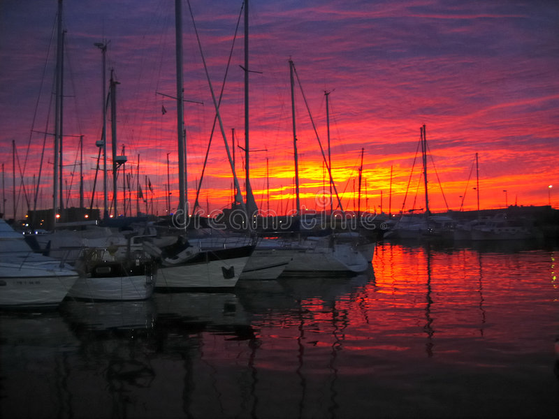 Download Sunset in the harbor stock image. Image of sailing, yacht - 504669