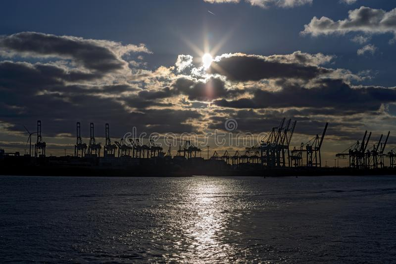 Sunset in the harbor Hamburg on the Elbe stock image