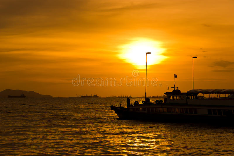Download Sunset on the harbor. stock image. Image of portugal - 33326119