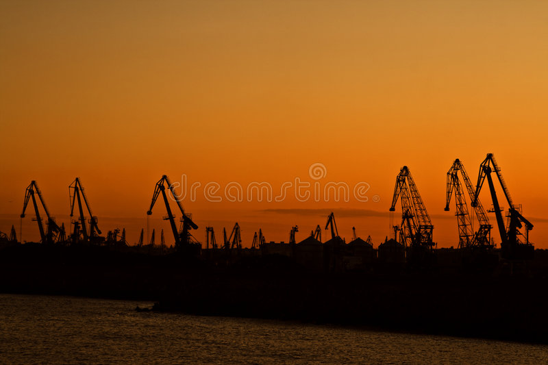 Sunset in a harbour royalty free stock photos