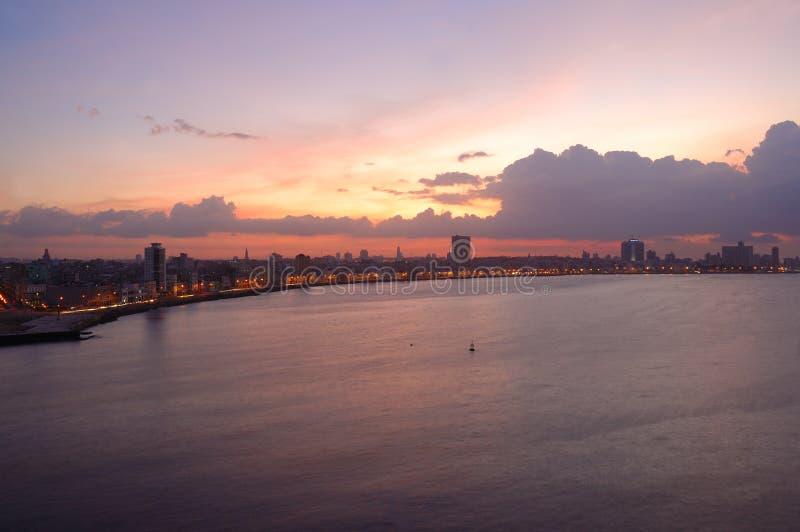 Sunset on Havana Bay skyline stock images