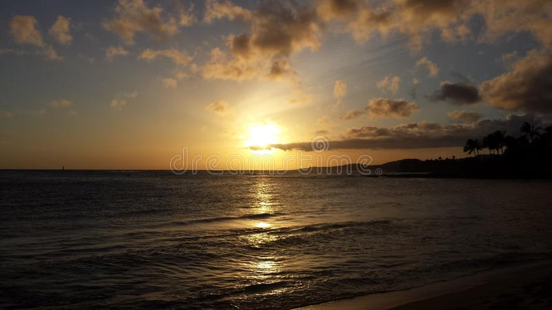 Sunset at Hawaii royalty free stock photography