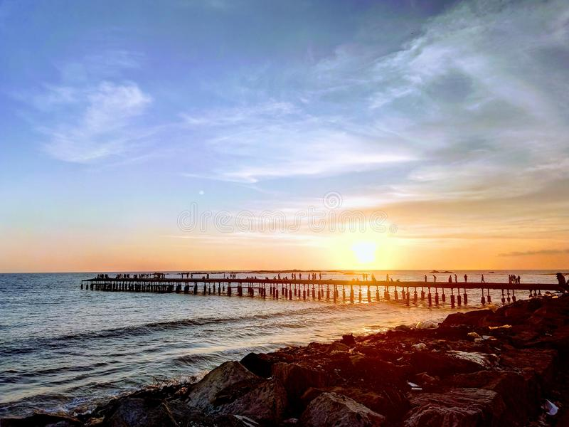 Thalassery Pier. Sunset HDR click at famous seabridge located at kannur district in kerala royalty free stock image