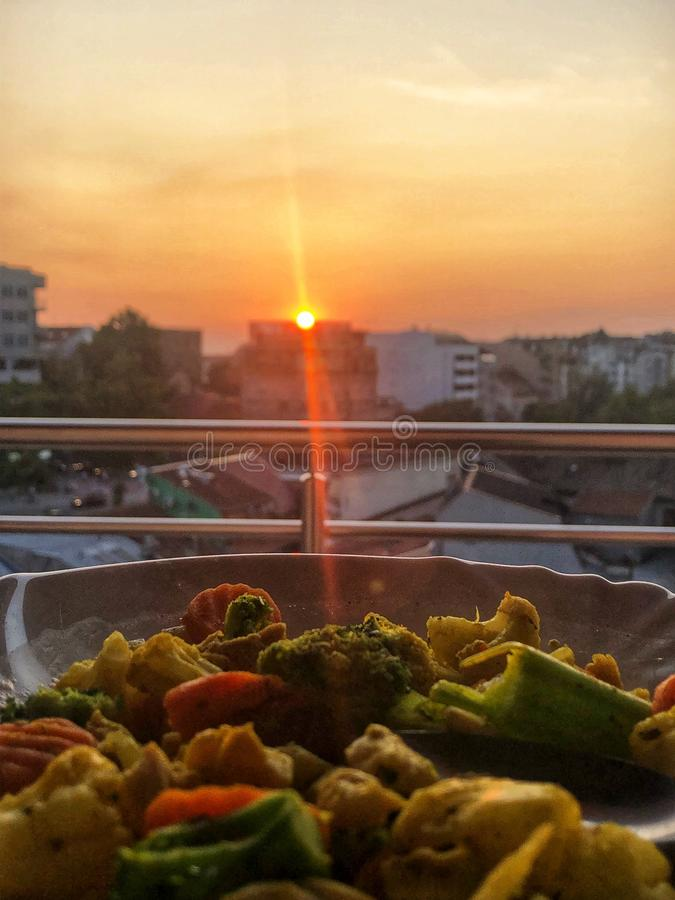 Sunset and healty food stock photo