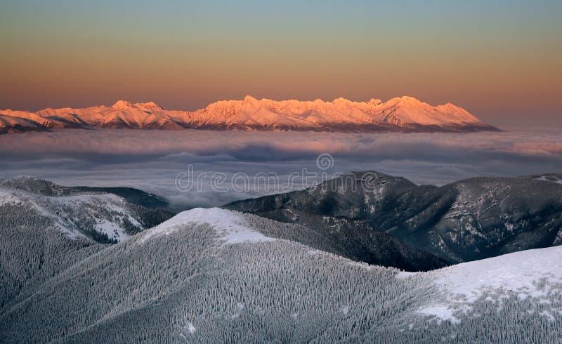 Sunset in the High Tatras. From Chopok (Low Tatras) Slovakia royalty free stock photos