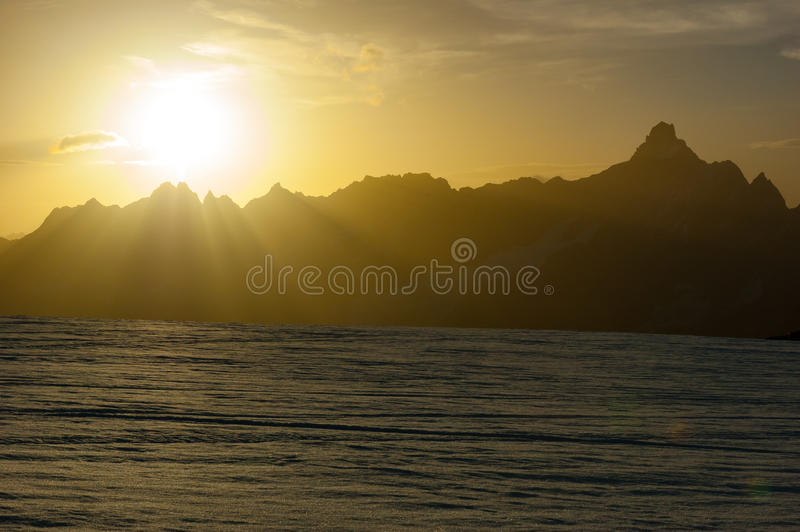 Sunset on the highest Alps peaks. From the Matterhorn glacier, Z. Ermatt, Switzerland stock photos