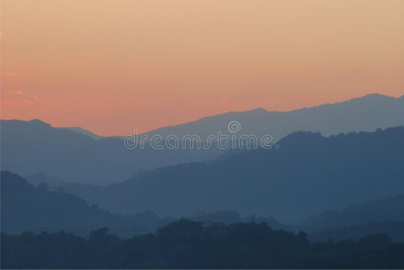 Sunset on the hills royalty free stock photos