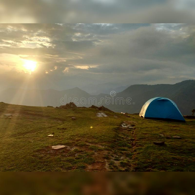 Sunset hills of chopta stock images