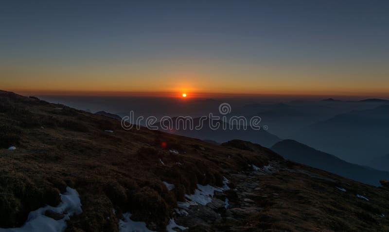 Sunset at Himalayas royalty free stock photos
