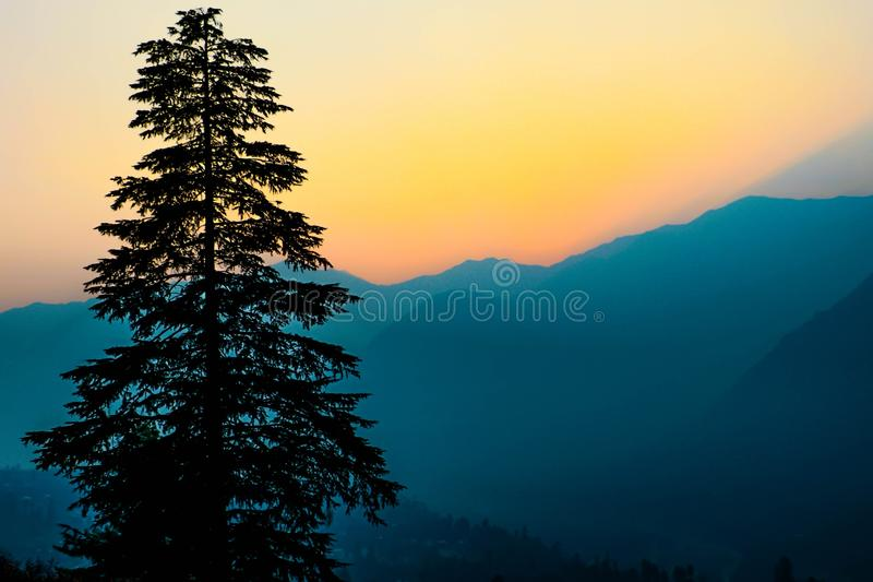 Sunset in the Himalayas royalty free stock photos