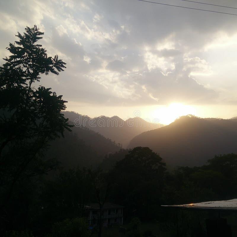 Sunset at Himalayas stock photos