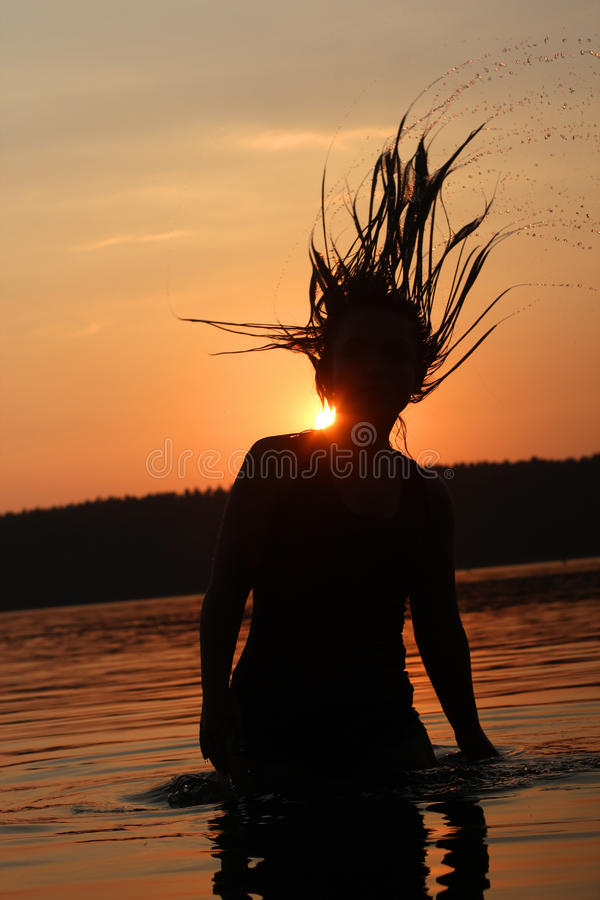 Sunset holiday at the lake stock photo