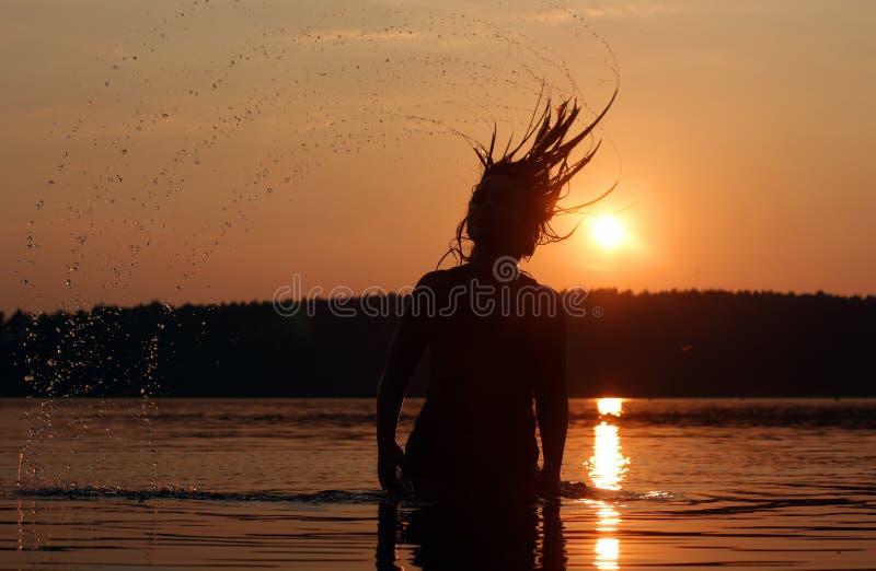 Sunset holiday at the lake royalty free stock photo