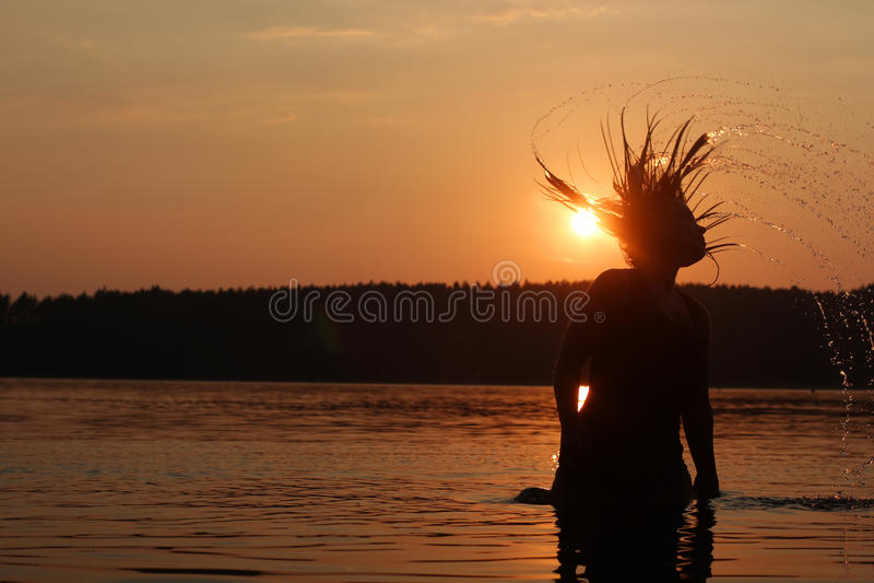 Sunset holiday at the lake stock photos