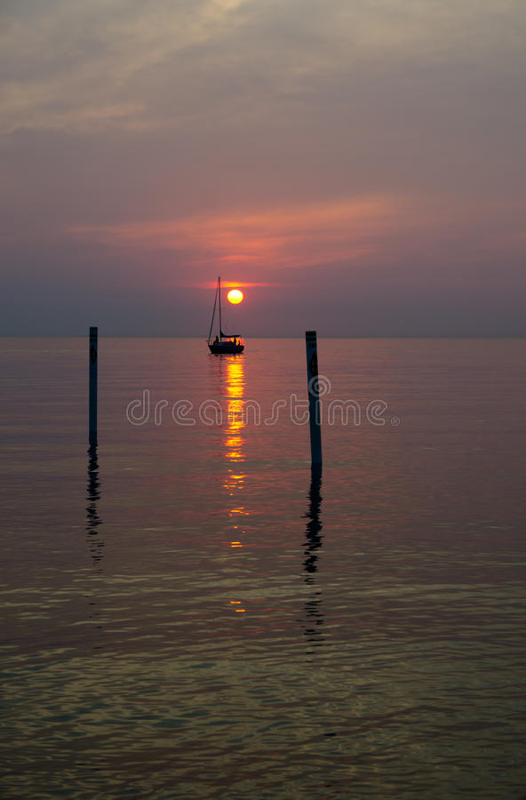 Sunset in Holland, Michigan stock photography