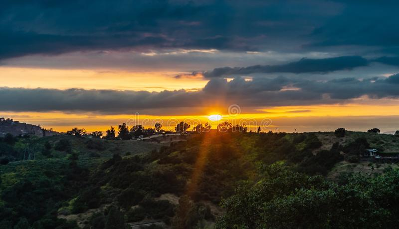Sunset from hollywood california royalty free stock images