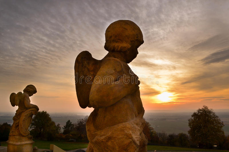 Sunset at the Holy Hill stock photo