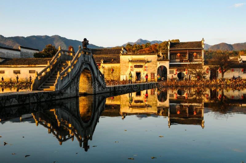 Sunset of Hongcun village - A Huizhou architecture village royalty free stock images