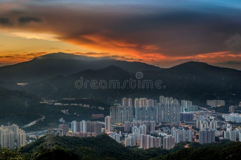 Sunset at Honk Kong stock photos