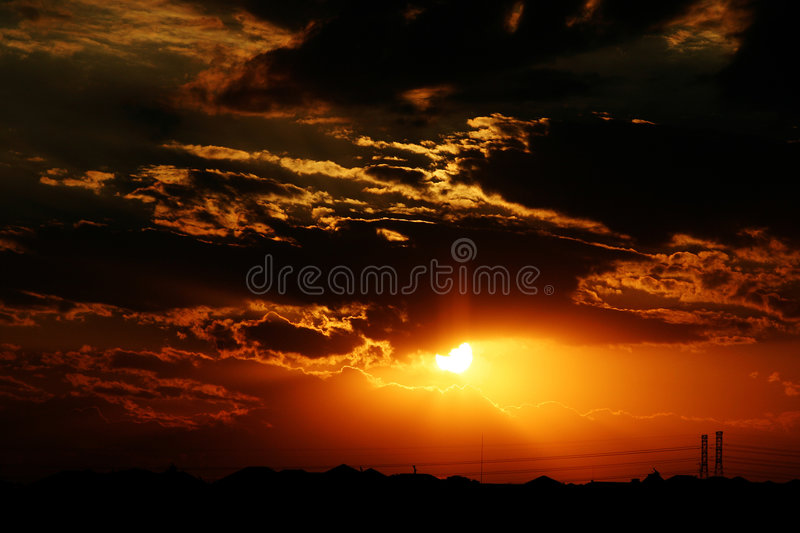 Download Sunset horizon stock photo. Image of landscape, cable, power - 346158