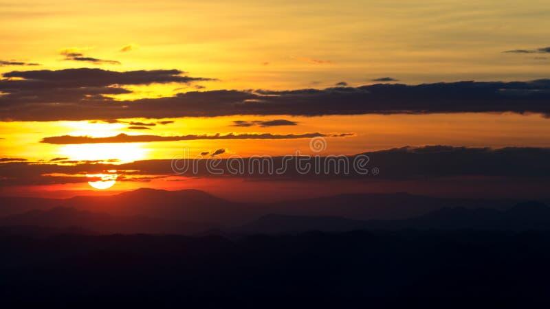 Sunset horizon landscape , Sunset horizon panorama , Orange sunset horizon view at sunset. Sunset mountain landscape royalty free stock photography