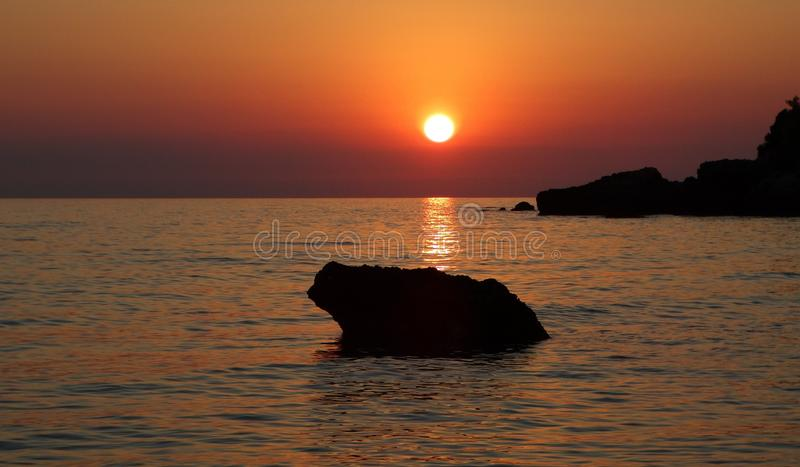 Sunset, Horizon, Sunrise, Sea stock photo