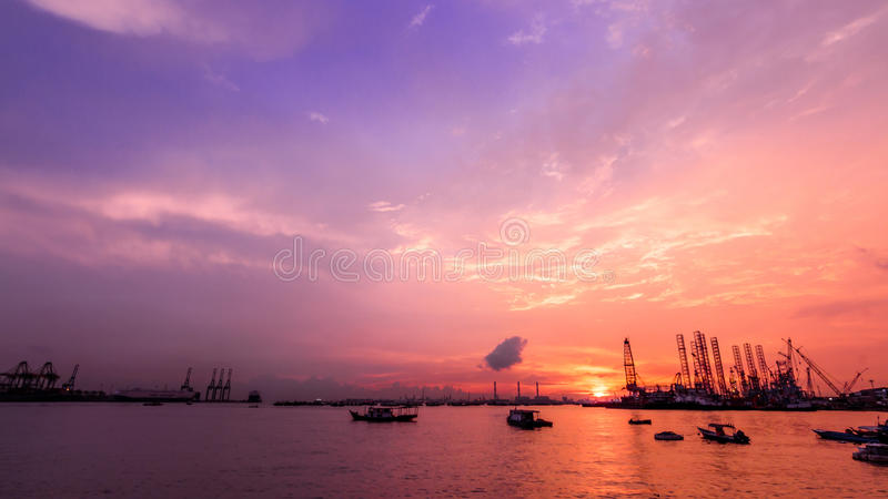 Sunset in the horizon royalty free stock photos