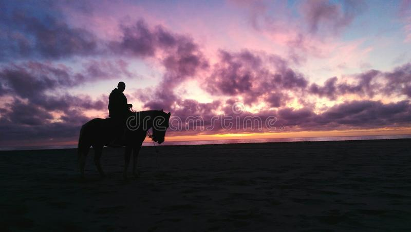 Sunset on horseback stock photos