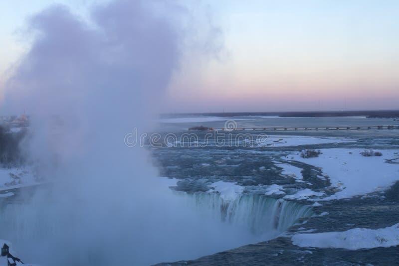 Sunset at Horseshoe Falls in Niagara stock photo
