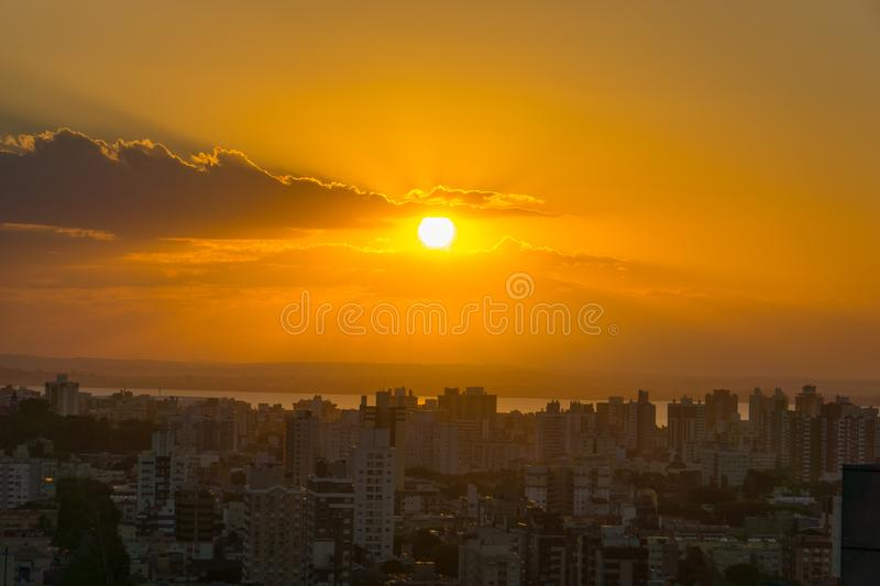 Sunset hour in Porto Alegre, Rio Grande do Sul, Brazil. With the city buildings as landscape royalty free stock photos