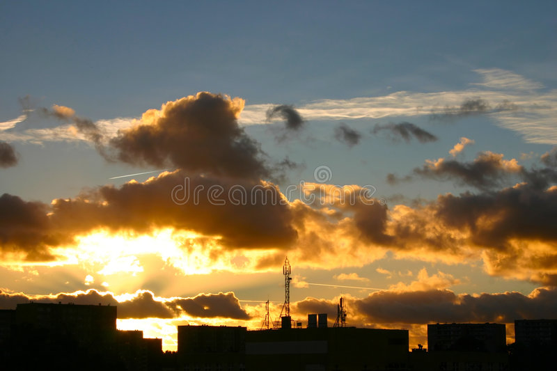 Download Sunset At The Housing Estate Stock Photo - Image: 504656