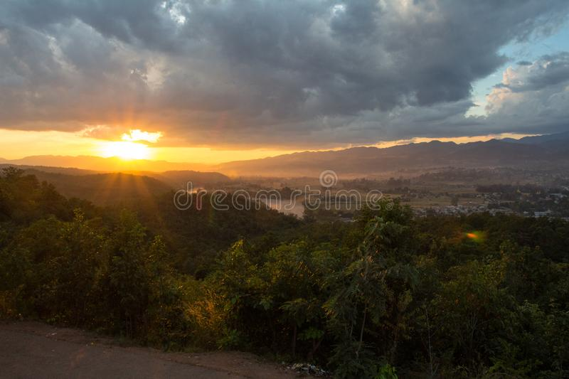 Sunset Hsipaw stock photo