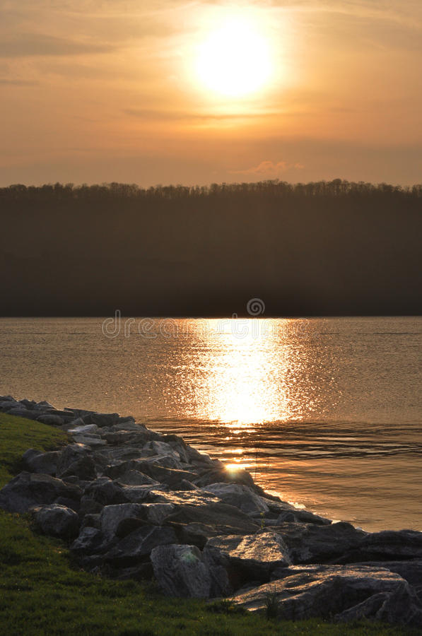 Sunset at the Hudson River royalty free stock images