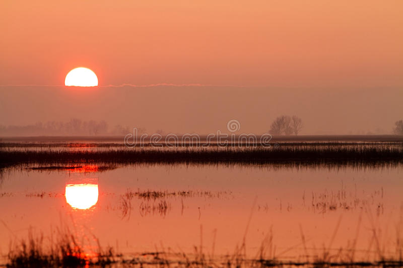 Sunset in Hungary. Sunset with pool of water in Hungary stock images