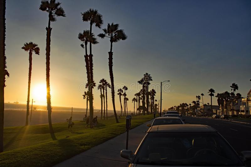 Sunset at Huntington Beach - California - USA royalty free stock images