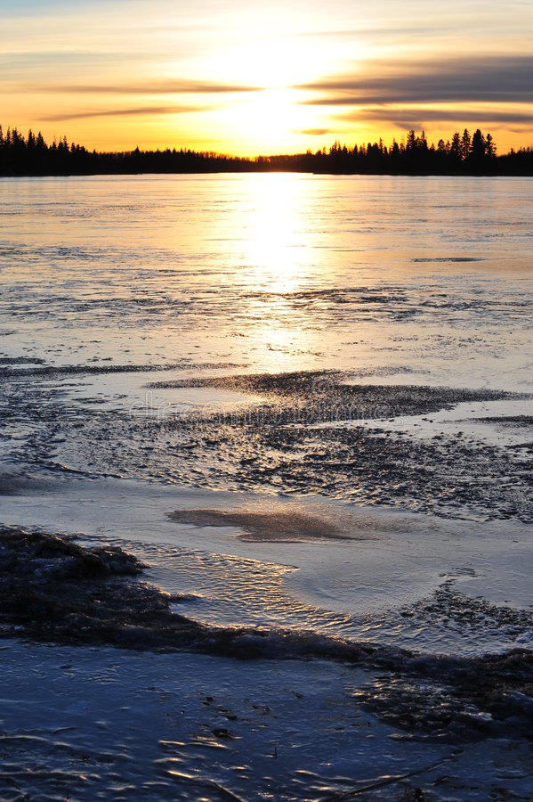 Download Sunset on ice lake stock photo. Image of national, forests - 7331692