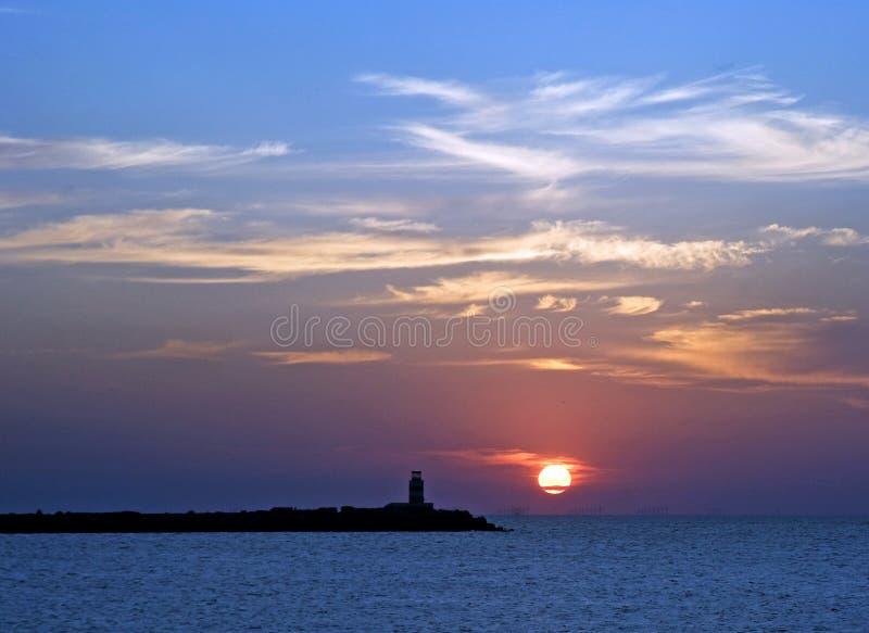 Sunset at Ijmuiden stock image