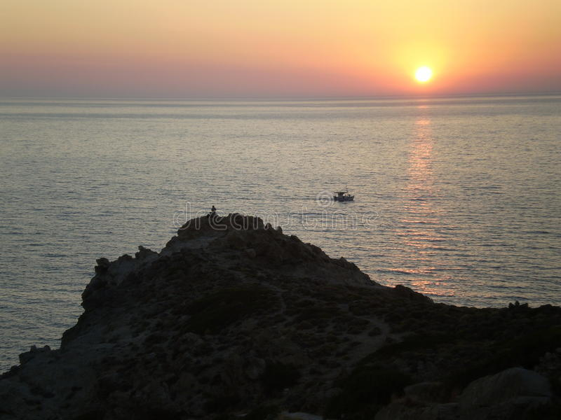 Sunset Ikaria stock photography